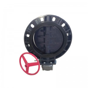 wafer screw flanged ends UPVC butterfly valve with reduction gear drive