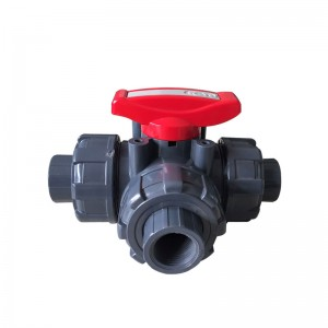 PVC 3 way ball-valve BS vītne