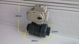 PVC actuated 2 way ball valves